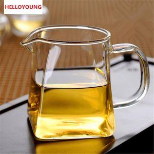 Square Bottom Glass Teapot Flower Tea Kettle Set Thick Cup Puer Coffee Tea Set Convenient Resistant Durable Tea set