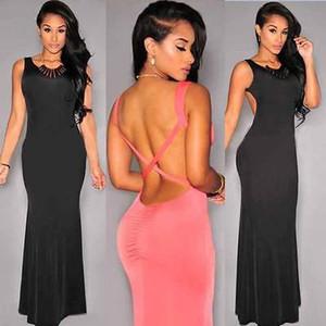 2015 Kadınlar Kat Uzunluk Pembe Formal Elbise Şifon Uzun Akşam Backless Gelinlik Önlük Artı boyutu Maxi Elbise