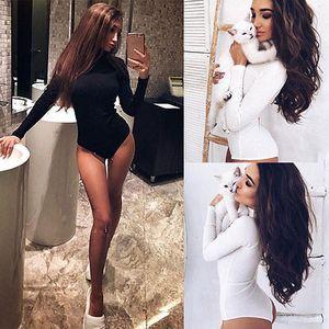 Kadın Bodysuits Yeni Moda Yukarı Yaka Uzun Kollu BODYCON Bandaj Bodysuit Jumpsuit İnce Kısa Romper
