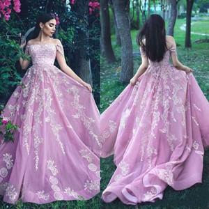 2020 exquis perles A-ligne Robes de soirée Mhamad Saïd dentelle bretelles arabe formelle Pageant Occasion Prom Wear Robe de noche Party Robes