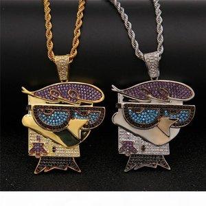 Dos desenhos animados Marca Designer Hip Hop Jewelry Men Bird Colares do Multicolour Colar de Ouro Cubic Zirconia