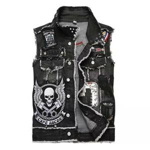 Hommes 2019 des vêtements de marque de luxe de caractères chinois Jeans Veste sans manches broderie homme Gilet