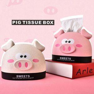 Urso dos desenhos animados Tissue Box Piggy rato Papel Towl Caixas guardanapo titular Dispenser Container Escritório Sala Caso Organizador Guardanapo