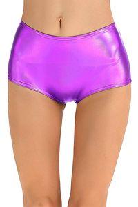 ICOSTUMES Damen Leder Metallic Shiny Shorts Sexy Low Waisted Tanz Shorts Für Stufe