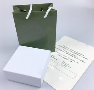 High quality original box necklace box designer green four-leaf clasp box necklace gift package with certificate hangbag