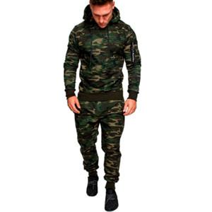 Nouveaux Sportwear Hommes Camo Zipper Survêtements solide Printemps Homme Workout Survêtement à capuche Pantalons Costume Coffrets Homme molletonnés