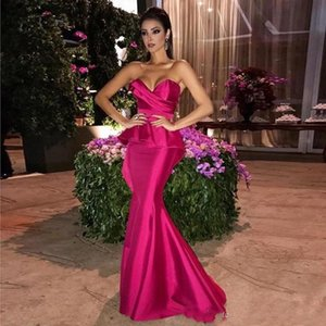 2020 Sexy Fuchsia Mermaid Evening Dresses With Sweetheart Pleats Floor Length Plus Size Formal Prom WEars Custom Made