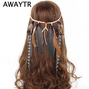 Indisches Feder-Stirnband-Haar-Zusatz-Festival-Frauen-Hippie-justierbarer Kopfschmuck Boho Pfauenfeder-Haarband