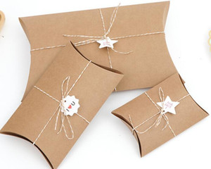 Fashion Hot Cute Kraft Paper Pillow Favor Gift Box Wedding Party Favour Gift Candy Boxes Paper Gift Box Bags Supply 016