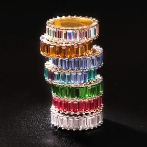 스털링 925 얇은 골드 링 라인 마이크로 파베 CZ 영원 9 개 색상 925 실버 무지개 CZ 여성 반지 스택