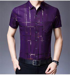 Mens Stripe Designer Stampa Camicie gira giù regolare Tees manica corta da uomo monopetto Pocket Tops