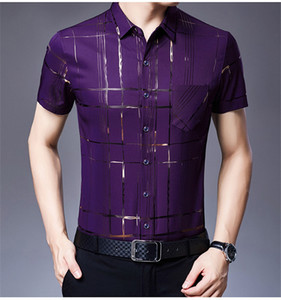 Mens raya diseño de impresión camisas Turn Down collar normal camisetas de manga corta para hombre solo pecho de bolsillo Tops