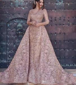 Dubaï arabe 2020 robes de soirée sirène Sexy manches longues Full Lace Appliques élégante robe de soirée de bal formelle avec overskirt