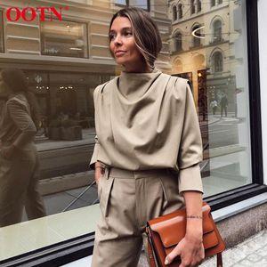 OOTN cubrió el collar tops para mujer y blusas elegante sólido camisa casual Oficina señoras de la blusa de manga larga Negro Top Streetwear 2020