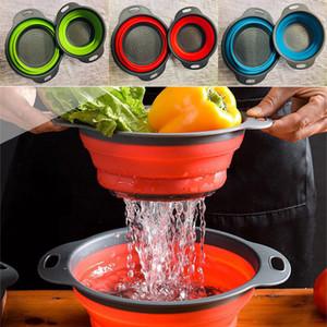 2PCS / LOT قابلة للطي للطي سيليكون مصفاة مصفاة مطبخ الفاكهة تصفية سلة الفاكهة الخضار المصفاة وعاء تخزين DHL WX9-1706