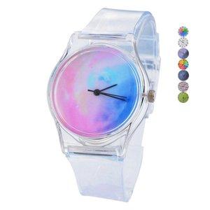 Netter durchsichtiger Kunststoff Himmel-Stern-Cartoon-Mode-Armbanduhr Damen Herren Causal Einfache Quarz-Uhr-Damen-Mann-Taktgeber-Uhr