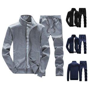 Jogger Sets Romper Solid Color Tracksuit Fleece Men's Active Sweat Suit Sweatshirts Hoodie Men Support DIY Printed T200704