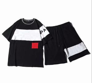 Mens Fashion Designer Treino Letters Bordados de luxo Verão Sportswear manga curta Pullover Jogger Calças Ternos O-Neck Sportsuit
