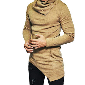 LASPERAL Men's High-necked Sweaters Irregular Design Top Male Sweater Solid Color Mens Casual Sweater Pullover Sweaters For Mens