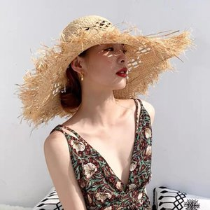 Fashion Hollow Women Beach Hat Handmade Raffia Summer Sun Hats 11cm Wide Brim Visor Cap Wholesale