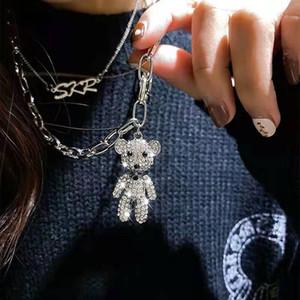 fuori collana pendente dell'orso ghiacciato per le donne progettista di lusso bling ciondoli di diamanti animali collane d'argento cubano catena a maglia regalo del cuore girocollo