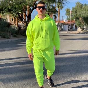 OMSJ 2019 Moda de néon dos homens do estilo Define fluorescência verde moletom com capuz + Sweatpants Two Piece Outono Inverno Treino Casual
