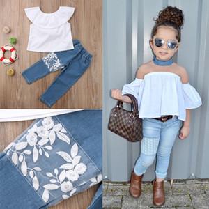 2 Stück Baby-Kleidung stellt Little Girl Outfit Weiß Rüschen Crop Top + Jeans-Denim-Hosen Boutique Kid Kleidung