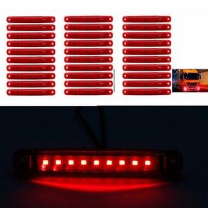 30pcs Kırmızı 9-LED Otobüs / Kamyon / Treyler / Kamyon 24V LED Işıklar Side Marker Işık geçirmez LED Işık Kuyruk lambası Park