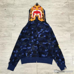 2017 New Blue A BATHING A APE Bap para hombre COLOR CAMO TIGER FULL ZIP HOODIE Shark Jaw Full Zipper Hoodie Suéter Camuflaje Abrigo chaqueta