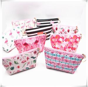 Kızlar Flamingo Kozmetik Çanta Kadınlar şerit Makyaj Çantası Taşınabilir su geçirmez Depolama yıkama Tuvalet Çanta seyahat Kılıfı Debriyaj D22903 Zip