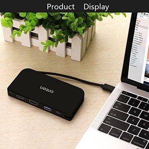 USB-C النوع C إلى VGA محول HDMI محور USB3.0 لHD TV العارض مراقب 1080P لشركة آبل ماك بوك الجديد 2015 2016