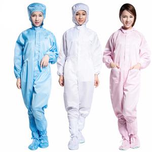 Atölye Erkekler Ve Kadınlar İçin Çizgili Koruyucu Giysi Yapışık Antistatik Toz Giyim Kapşonlu Cap Koruma Suit