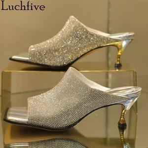 BlingBling Elmas Kadınlar Terlik Gerçek Deri Slaytlar Açık Burun Kitten Topuklar Ayakkabı Kadın Gümüş Sapato Feminino