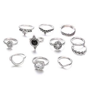 anneaux de créateurs Boho Crystal Crown Set anneaux pour les femmes Vintage Silver Knuckle Anneaux Wedding Bands Bijoux Déclaration