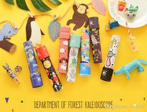Tarjeta de papel Kaleidoscope imaginativa animales de la historieta 3D Caleidoscopio colorido Mundial Interactivo Juguetes Juguetes para niños regalos 30pcs