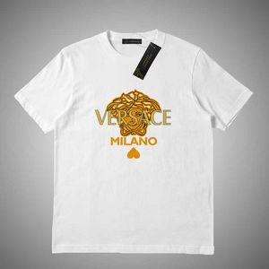 Versace 남성의 경우 2018 여름 T 셔츠 탑스 편지 자수 T 셔츠 남성 의류 브랜드 짧은 소매 티셔츠 여성은 S-2XL 번호 456418 탑
