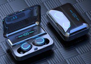 F9-5 TWS sem fio Fone de ouvido Bluetooth 5.0 Toque Earphones 9D Stereo Sport Music LED Waterproof exibição Airbuds Headset Com Mic
