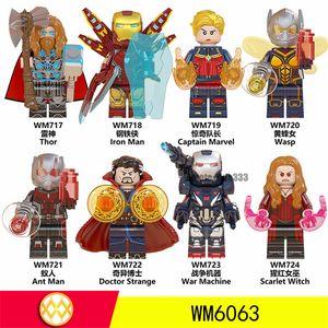Строительные блоки Цифры игрушки Новейшие Thor Доктор Стрэндж War Machine Scarlet Witch Wasp Железный человек Капитан Ant человек