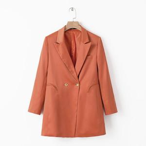 Manteau de printemps femme 2019 casual blazer long robe orange vêtements pour femmes blazer à manches longues femmes