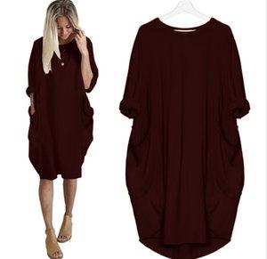 Plus Size 5XL Herbst-Frauen kleiden Taschen-loses Kleid Damen Rundhalsausschnitt beiläufige lange Mädchen Tops Kleid weibliche Art und Weise groß vestido Freies Verschiffen
