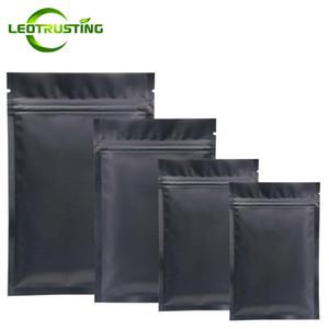 1000PCS를 Leotrusting / 많은 매트 블랙 플랫 바닥 알루미늄 호일 애 가방 다시 봉합 할 수있는 블랙 열 씰링 지퍼 파우치 사용자 정의 인쇄 가방