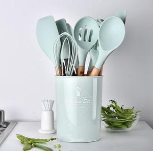 saklama kutusu spatula kaşık mutfak pişirme pişirme araçları ile gelişmiş silikon ahşap saplı 12 adet kümesi pişirme aracı set mutfak şefi seti