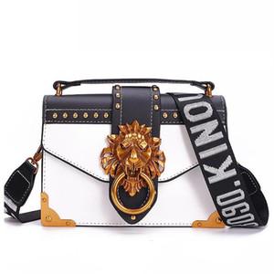 Designer de Metal Lion Head Mini quadrado pequeno pacote Shoulder Bag Crossbody Pacote Clutch Mulheres Designer Carteira Bolsas Bolsos Mujer