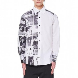 Estilo de la camisa Negro 20SS Nueva blanca británica foto impresa de manga larga calle camisa de la manera Hombres Y Mujeres camisa cómoda HFXHTX260