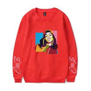 Imprimir Moda Cardi B Digital camisola das senhoras O Womens Hoodies coloridos manga comprida Pescoço