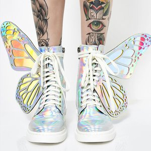 Mode Glanz Frauen Sliver Short Boots Butterfly Wings Ankle Boots Lace Up Side Zip Booties Schuhe Bling Damen Wohnungen botinen Mujer