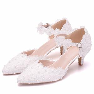 سيدة كعب الأوسط الكاحل الأشرطة أحذية 5cm كعب مريح فستان الزفاف أحذية الدانتيل الأبيض والوردي وصيفه الشرف أحذية حجم 10
