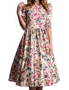 Vestido vintage floral con mangas 3/4 con sabor simple para mujer, elegante y elegante.