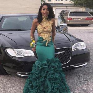 2020 Sexy Hunter Green Mermaid платье выпускного вечера высокая шея с золотыми аппликациями вечера партии платья Пикапов органза Пром Юбка