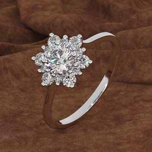 Elegante Hübsche Legierung Hochzeit Ringe Silber / Gold / Rose Gold Weiß Saphir Ring Größe 6/7/8/9/10 Für Frauen Damen